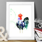 ROOSTER CHICKEN ORIGINAL WATERCOLOUR MODERN PRINT NEW SIGNED POP ART ABSTRACT