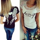 Angel Wings Printed Women Lace T shirt Sexy Tops Casual Short Sleeve Blouses