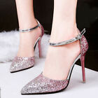 Sexy Womens Pumps Gradients Glitter High Heels Ankle Strap Stilettos Shoes US4-8