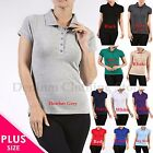 Plus Size Women's Classic Jersey Short Sleeve Cotton Polo Shirts Tops 1X 2X 3X