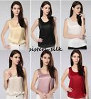 Womens 19mm 100% Pure Silk Tank Top Wide Strap Camisole Vest Sleeveless T-Shirt