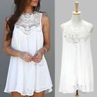 Women Sexy Summer Casual Sleeveless Evening Party Beach Mini Dress Short White