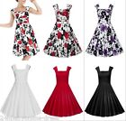 Women 50s Vintage Floral Solid Rockabilly Swing Sleeveless Casual Party Dresses