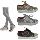 womens flat platform pumps ladies glitter casual chunky sole new shoes size