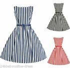 Women 50s Striped Vintage Sleeveless Rockabilly Swing Pinup Casual Party Dresses