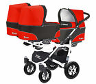Trippy 2 in 1- Triple Pram Pushchair Stroller Triplets, Black & Red, Width-85 cm
