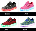 Boys Girls Colorful LED Light Up Sport Flats Sneakers Kids party Baby USB Shoes