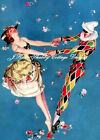 """AWESOME Vintage REPRO Art Deco Perrot Jester Cotton Fabric  Block 5x7"""" or 8x10"""""""