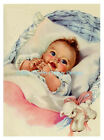 """Sweet Vintage 1950's REPRO Baby Girl Card Cotton Fabric  Block 5x7"""" or 8x10"""""""