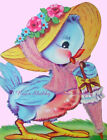 """Sweet Vintage Bluebird Greeting Card REPRO on Cotton Fabric  Block 5x7"""" or 8x10"""""""