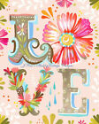 "Pretty Hippie Boho LOVE Multi-Colored Flowers Cotton Fabric  Block 5x7"" or 8x10"""