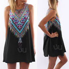 Sexy Women Sleeveless Summer Casual Party Evening Floral Bohomia Mini Dress