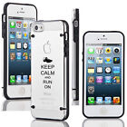 For iPhone SE 5 5s 5c 6 6s Plus Clear TPU Hard Case Cover Keep Calm Run On