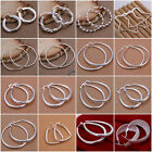 Womens Stud Earrings Jewelry Silver Plated Round Hoop Dangle 925 Fashion New