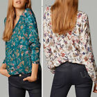 Womens Long Sleeve Cotton T-shirt Blouse Loose Casual Floral Tops Fashion V-neck