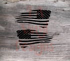 2x Distressed American Flag Decal USA Mirrored Reverse