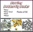 Earring Butterfly Backs/Stoppers -  Silver, Gold & Mixed Packs of 50