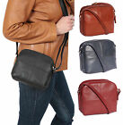 Womens leather shoulder bag zip top cross body casual bag BLACK-BROWN-NAVY-RED