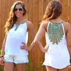 Sexy Casual Women Backless Floral Sleeveless Top Vest Tank Cami Blouse T-Shirt