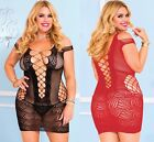 Sexy Plus Size Sheer Fishnet & Fence Net Bedtime Lingerie Underwear Dress XXL