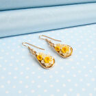 DAFFODIL  DROPPER  EARRINGS  hand-painted flower jewellery   MADE IN WALES,UK