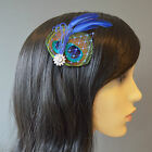 PEACOCK Feather HAIR CLIP Fascinator Navy Royal Blue Turquoise Bridesmaids Ellie