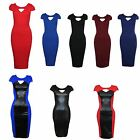 Womens Cap Sleeve Cut Out Front Contrast Slimming Effect Bodycon  Midi Dress