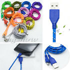 1/2/3M Woven Braided Fabric Micro USB Data Sync Cable Charger For Cell Phone New