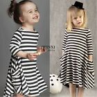 Toddler Baby Girls Kids Cute Striped Long Sleeve Princess Party Mini Dress TXSU