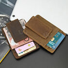 Men's Women's Crazy Horse Wallet Leather Magnetic Money Clip  ID Card Holder
