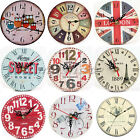 Vintage Wooden Wall Clock Shabby Retro Style Shabby Chic Rustic Home Office New