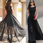 Sexy Lady Womens Net Yarn Black/White Long Party Evening Ball Gown Dress