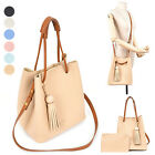 CASUAL EVERYDAY WOODBALL TASSEL SHOULDER TOTE BAG PURSE HANDBAG  FAUX LEATHER