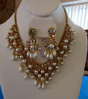 Vintage Fancy necklace and clip on earring set pearl and aurora borealis wow!