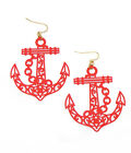 ANCHOR RED Metal Fish Hook Red Anchor Large Filigree Pierced Wire Earrings