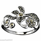 Sterling Silver Marcasite Flowers Ring Avon