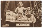 Christmas Postcard Young Girl with Dog in Bed Waiting for santa
