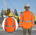 NEW HI VIS ANSI/ISEA Class 3 Safety Reflective Men Long Sleeve T-Shirt ALL SIZES