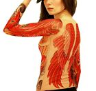 Wild Rose Ladies Tattoo Shirt, PHOENIX Red Bird Wings Irezumi Tattoo Sleeve Body