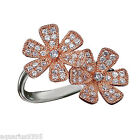 Sterling Silver Rose Gold Plated Cubic Zirconia Accents Flower Ring Avon