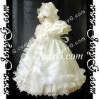 #CI6 Baby Girl Christening Baptism First Holy Communion Church Gown Dress Bonnet