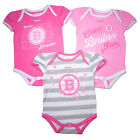 Boston Bruins Cute Baby Infant Girl 3-Piece Pink Creeper Romper Bodysuit Set