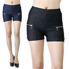 IUILE Stretch Jean Shorts Leggings with Front Pocket Zipper Point Comfy New