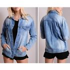 Women Oversized Boyfriend denim jacket Trucker Blue