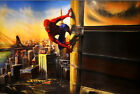3D 4D Flying Spiderman6Hand Painted Wall Paper Wall Murals Print Floor Wallpaper