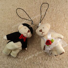 20 50pcs Mini Wedding Bride Groom Teddy Bear Craft Scrapbooking Keychain 6.5cm