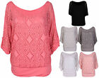 Womens New 3/4 Turn Up Sleeve Ladies Off Shoulder Crochet Net Mesh T-Shirt Top