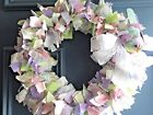 BEAUTIFUL HANDMADE RAG WREATH-SUMMER/SPRING-BURSTING WITH COLOR FLUFFY AND FUN!