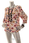 NEW LAUREN CONRAD Women 3/4 Sleeve Floral Knit Top Indipink  Multi S M