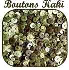 LOT 45 BOUTONS VERT KAKI SCRAPBOOKING LAYETTE COUTURE